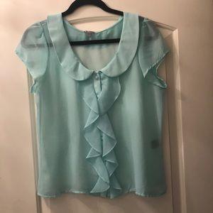 Light blue sheer button up blouse